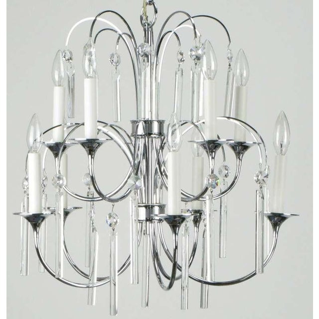 Italian Italian Chrome & Crystal Ten-Arm Waterfall Chandelier For Sale - Image 3 of 8