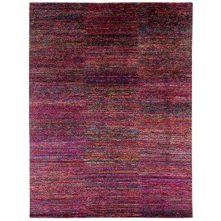 "Modern Multicolored Silk Area Rug by Carini-9'x12"" For Sale"