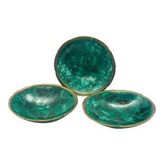 1970s Malachite and Brass Bowls - Set of 3 For Sale