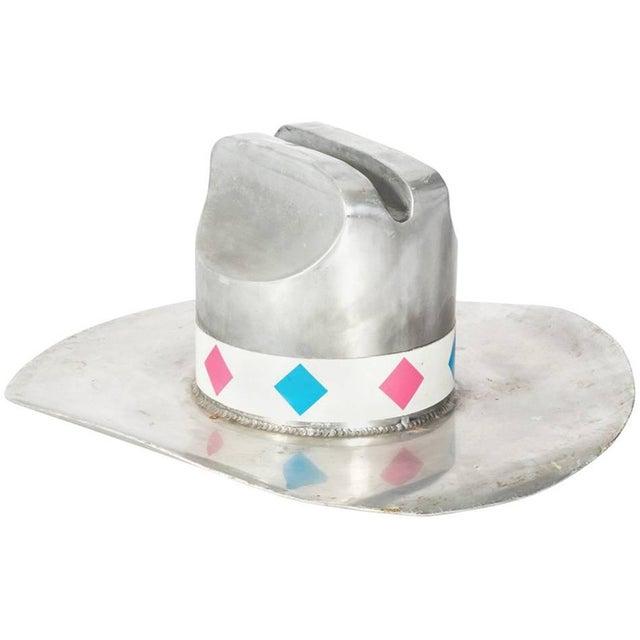 Chrome Vintage Cowboy Hat Trade Sign For Sale - Image 8 of 8