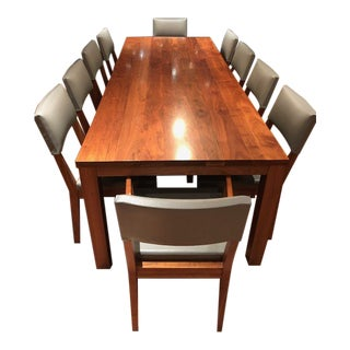 De La Espada Walnut Dining Table and Chairs For Sale
