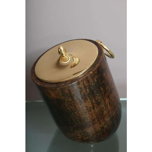 Mid-Century Modern Aldo Tura Goatskin and Brass Tilted Ice Bucket For Sale - Image 3 of 9