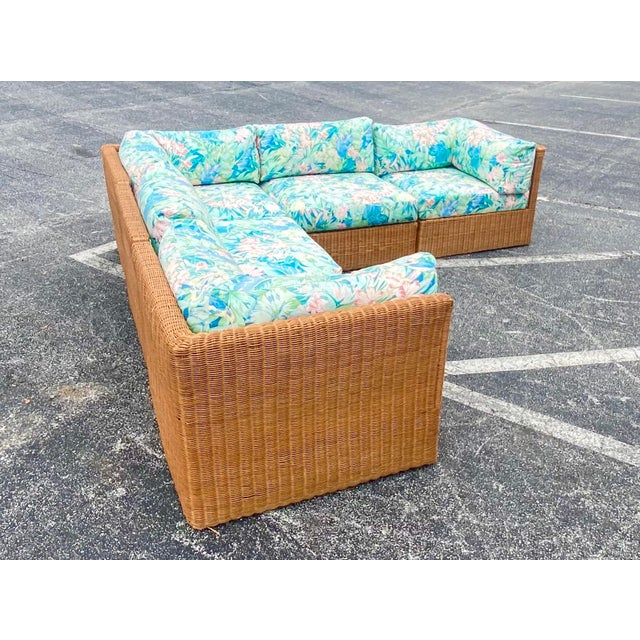 Vintage Coastal Woven Rattan Printed Sectional For Sale - Image 12 of 13