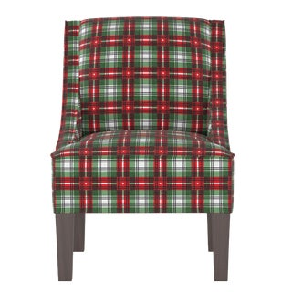 Swoop Arm Chair in Nicolas Plaid Green Oga For Sale