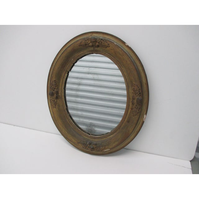 Antique Oval Mirror With Distressed Gold Finish For Sale In Miami - Image 6 of 6