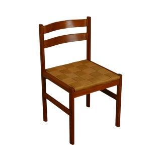 Danish Modern Teak Woven Cord Rush Seat Side Chair For Sale