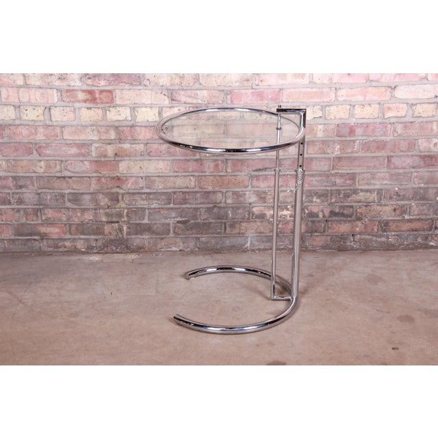 Eileen Gray Chrome and Glass Adjustable Height Occasional Side Table For Sale - Image 13 of 13
