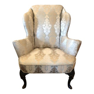 Antique English Wingback Chair W Sage Crewel Damask Upholstery For Sale