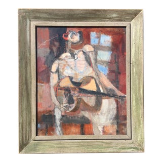 1957 George Ratkai Abstracted Guitarist Oil Painting on Canvas For Sale