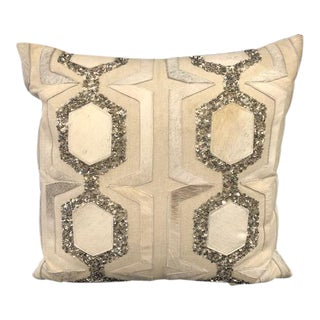 Beads & Cowhide Patch Pillow For Sale