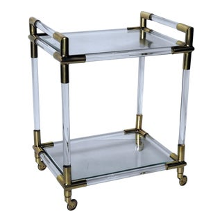 Brass & Glass Bar Cart in the Manner of Charles Hollis Jones