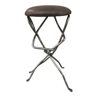 Sculptural Wrought Iron Stool For Sale