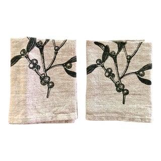 Mistletoe German Natural Linen Napkins, Set of 2 For Sale