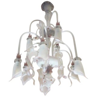 Venetian Opaline and Pink Chandelier For Sale