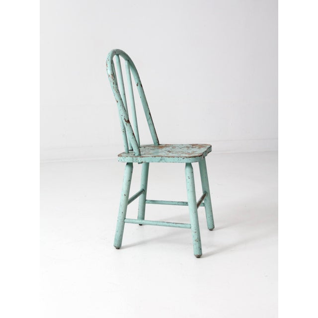 Wood Vintage Children's Spindle Back Chair For Sale - Image 7 of 8