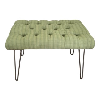 Green Custom Tufted Bench