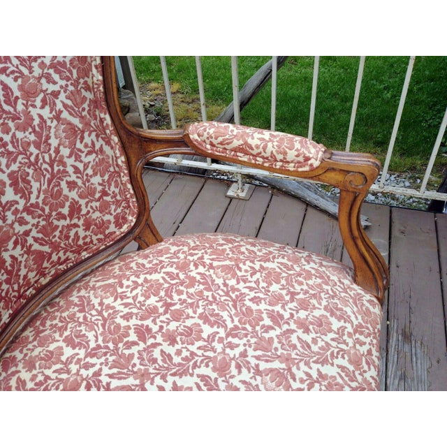 Wood Vintage Louis XV French Carved Fruitwood Hardwood Arm Side Chair With Jacquard Upholstery For Sale - Image 7 of 13