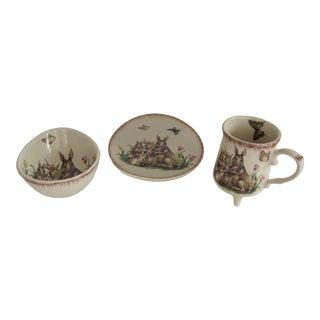 Vintage Children Rabbit Themed Mug, Bowl and Plate - 3 Piece Set For Sale