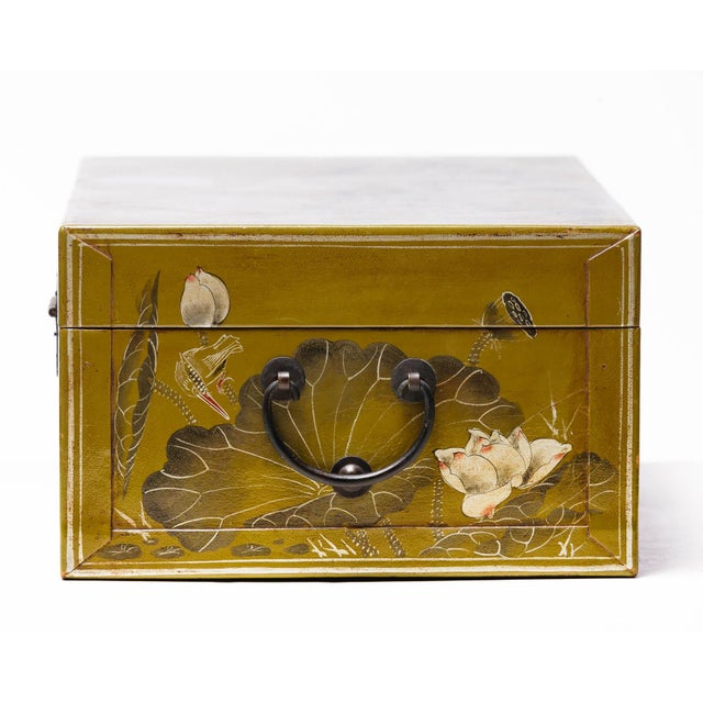 Hand-Painted Lotus Scene Chartreuse Leather Box on Patinated Brass Stand as Side Table by Lawrence & Scott For Sale - Image 11 of 13