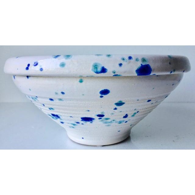 Blue Studio Pottery Spatter Ware Serving Bowl-Signed For Sale - Image 8 of 10
