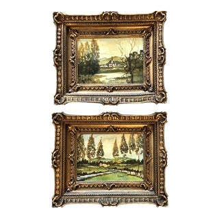 Gallery Wall Collection 2 Ornate Italian Small Landscape Paintings Signed For Sale