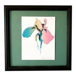 Vintage Framed Floral Print by Nyc Artist Don Herron For Sale