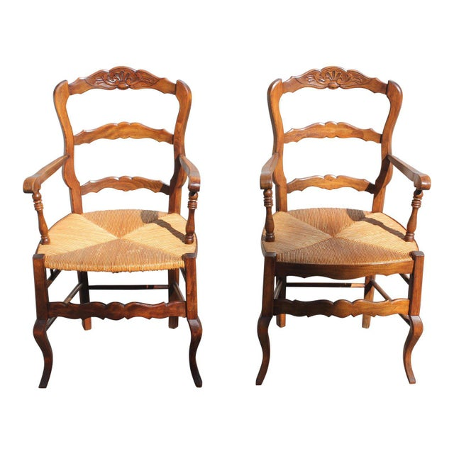 Early 20th Century French Country Rush Seat Solid Walnut Berger Chairs- a Pair For Sale - Image 13 of 13