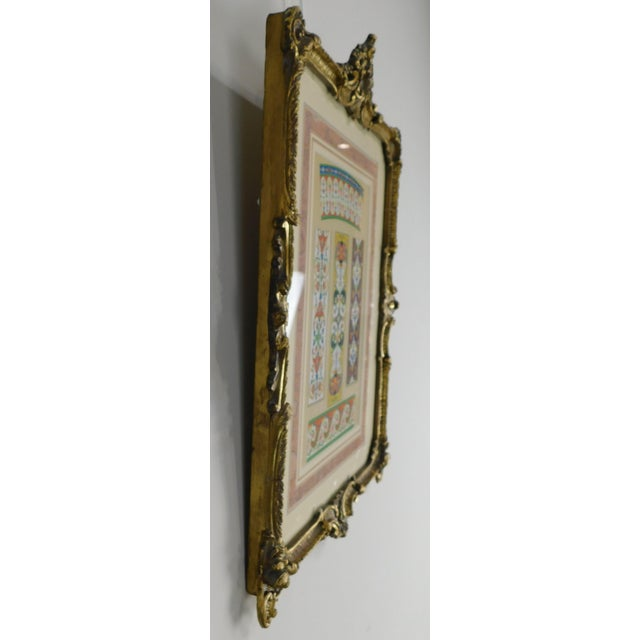 1940s Rococo Gilt Framed Pair of Prints Showing Samples of Decorative Wallpaper Borders For Sale - Image 5 of 13