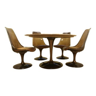 1970s Mid-Century Modern Eero Saarinen Style Marble Tulip Dining Set - 5 Pieces For Sale
