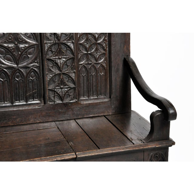 17th Century French Gothic Oak Hall Bench For Sale - Image 10 of 13