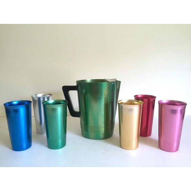 Vintage Mid Century Modern Rare Anodized Spun Aluminum Multicolor Beverage Set - 7Pc For Sale - Image 11 of 12