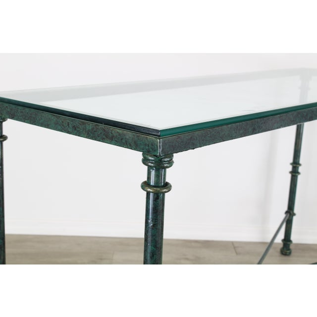 Green Diego Giacometti Style Iron Console Table, Metal Console Table For Sale - Image 8 of 10
