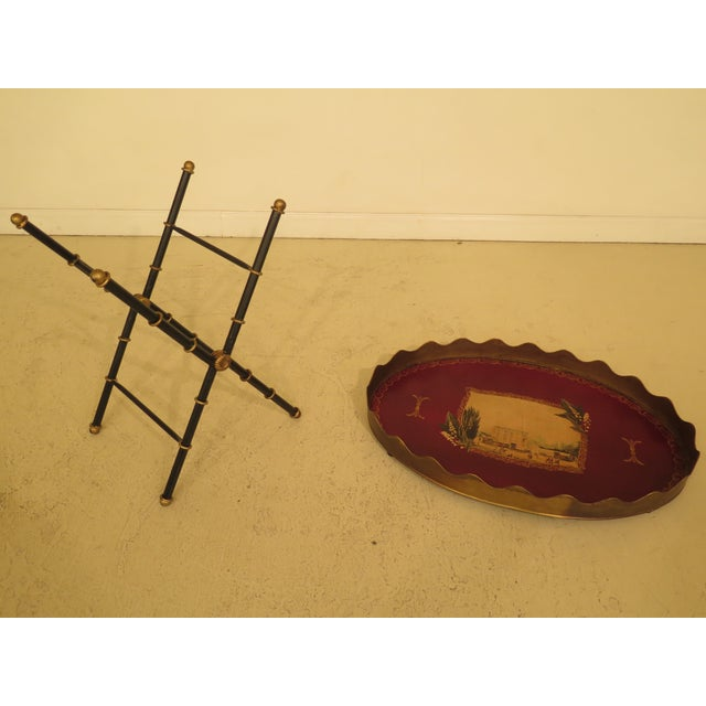 Iron Traditional Sarried Tole Paint Decorated Serving Tray Table For Sale - Image 7 of 13
