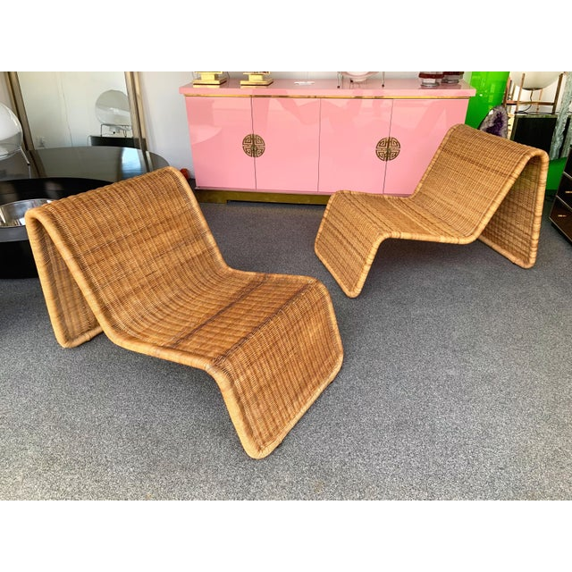 Pair of Rattan Lounge Chair P3 by Tito Agnoli. Italy, 1960s For Sale - Image 12 of 12