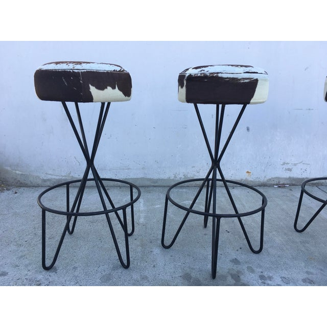 1950s Vintage Paul Tuttle Iron Bar Stools - Set of 4 For Sale In Los Angeles - Image 6 of 13