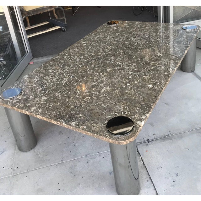 Modern Vintage Modern Stone and Chrome Coffee Table by Pace Collection For Sale - Image 3 of 7
