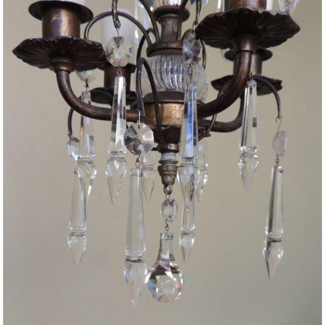 Early 20th C Italian Brass and Crystal Petite Chandelier For Sale - Image 4 of 6