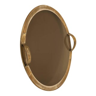 French Mid-Century Modern Brass Tray in a Hermes Style For Sale