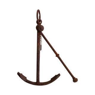 Vintage Belgian Iron Anchor For Sale