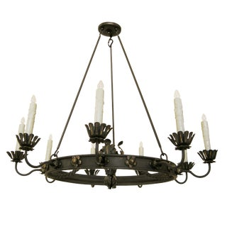 Elegant Casablanca Moroccan Wrought Iron Chandelier by Randy Esada Designs For Sale
