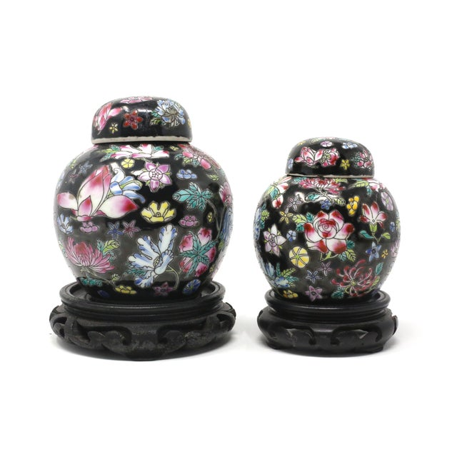 Vintage Petite Black Ginger Jars With Colorful Flowers and Wood Stands - Set of 2 For Sale - Image 11 of 11