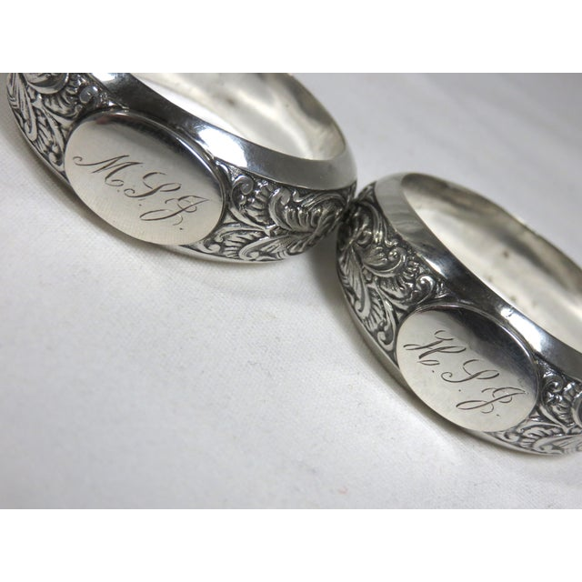 Traditional 1850s Vintage Coin Silver Napkin Rings - a Pair For Sale - Image 3 of 7