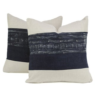 Vintage Indigo Batik Hmong Pillows - Pair