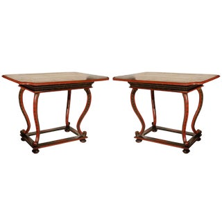 18th C. Venetian Hand Painted Chinoiserie Tables With Bird Motif..a Pair For Sale