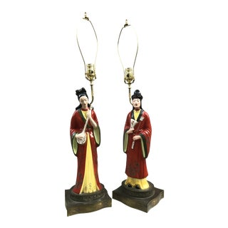 Rare Antique Chinoiserie Chic Table Lamps - a Pair