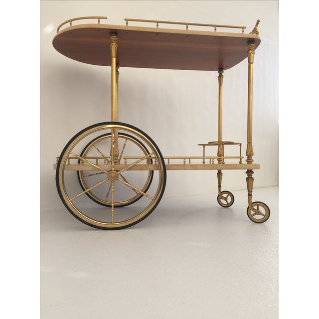 Aldo Tura Parchment Bar Cart Drinks Trolley For Sale - Image 5 of 11