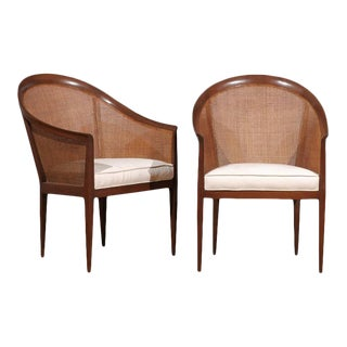 Pair of Kipp Stewart for Directional Cane Back Armchairs For Sale