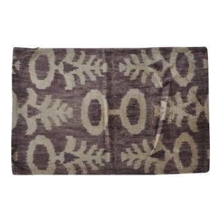 Purple Silk Velvet Ikat Pillow For Sale