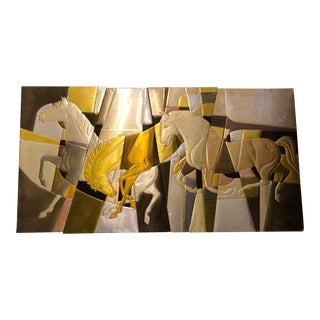 Abstract Metal Wall Art of Galloping Horses For Sale