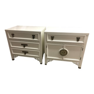 Vintage Chinoiserie Dixie Shangri-La Fretwork Lacquered Nightstands - a Pair